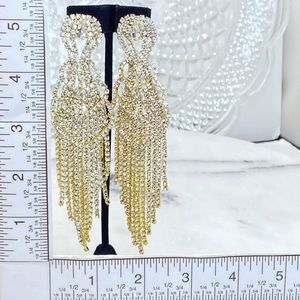 "Prom Pageant Bridal Jewelry - 5"" Rhinestone Curtain Shimmer Chandelier Earrings"